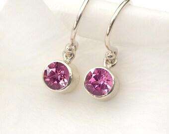 October Birthstone Earrings   Tourmaline   Sterling Silver   Handmade in the UK