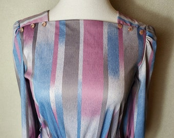 Totally 80s vintage stripey polyester dress, possibly homemade