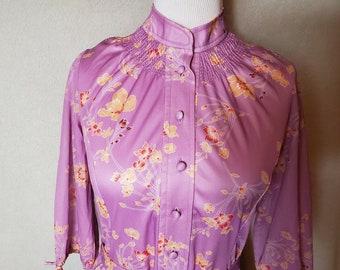 Vintage 1970s Lady Carol floral print dress, Fortrel polyester, smocking, lavender
