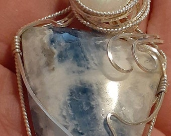 KittyD Lapis Lace Agate Pendant with Moonstone Accent Sterling Silver Wire Wrapped OOAK Artisan Jewelry