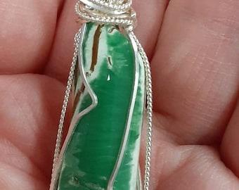 KittyD Sterling Wrapped Gem Quality Australian Variscite Pendant OOAK Artisan Jewelry