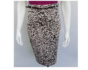 069de18c86 High waisted pencilskirt stretch punto de Milano Leopard print pink beige  fifties rockabilly handmade wiggledress pin-up skirt