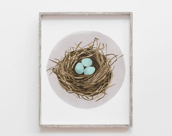 Nature Art, Nature Painting, Modern Art Print, Nest Print, Nest Painting, Bird Nest, Robin's Egg, Nature Wall Decor, Modern Nature