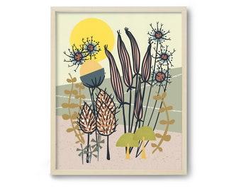 Mid Century Wall Art, Scandinavian Art, Scandinavian Print, Folk Art, Botanical Print, Botanical Art, 60s Art, Modern Botanical, Kitchen Art