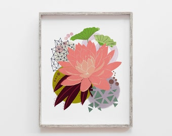 Botanical Print, Nature Art, Scandinavian Print, Modern Art, Botanical Art, Floral Painting, Modern Botanical, Lotus Art, Flower Painting