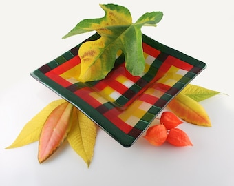 COMING OF FALL Plaid Fused Glass Plate (Ready To Ship)