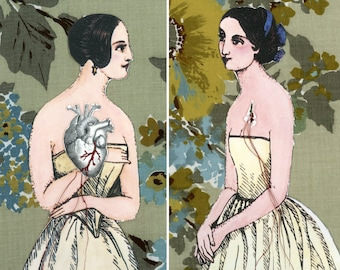 Netty and Pauline - Free US Shipping Original Mixed Media Paper Doll Art Surreal Fabric Textile Art Vintage Lesbians Gay girls in love OOAK