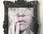 Purify - Small mixed-media art ornate brass framed Original textile art Surreal Photography fabric print Womans face White paint portrait
