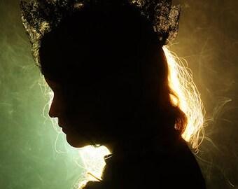 Smoke and Mirrors - FREE SHIPPING Surreal Photo Print Silhouette of a woman Portrait Profile Smoke Dark Art Photography Green Orange Creepy