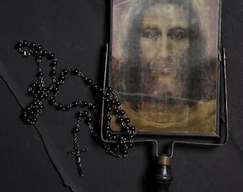 Devotional FREE SHIPPING Still life Photo print Religious Religion Jesus Mirror Surreal Rosary Icon Vintage vintage Dark Black Shadows