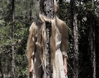 Knots 2 - FREE SHIPPING Surreal Photography Creepy art Print Girl with hair knotted around tree Nature Woods Blond Vintage Dress Wall Art