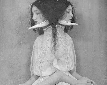 I Can Feel It In My Bones 3 - FREE SHIPPING Black & White Surreal Photo Print Portrait Animal Jaw Teeth Twins Creepy Dark Art Wall Goth Gray