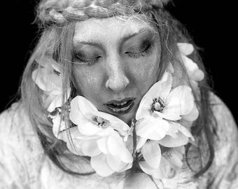 Settling into dust FREE SHIPPING Surreal Photography Print Black & White portrait of a woman with flowers Dart art Creepy Fine Art Poster
