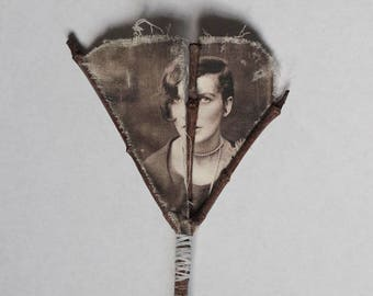 Fay (1) Framed original Mixed Media Fabric art Textile art Found objects Photo of woman on a stick Nature Girl Surreal OOAK Vintage image