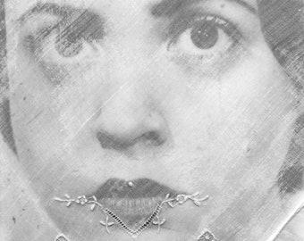 Tears To Come - OOAK Original Mixed Media Surreal Photo Fabric print Textile Art Portrait Face Vintage Handkerchief B&W Hanky Wall Decor