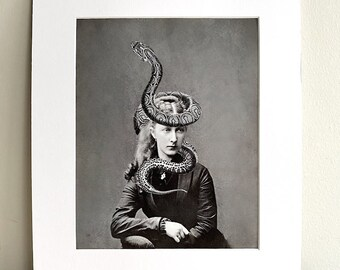SALE Matted 8x10 Tanith - Surreal Photo Print Fine Art Image Vintage Girl with snake wrapped around head b&w Digital collage Home Decor