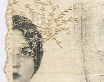 Embellishment - OOAK Original Mixed Media Surreal Photo Fabric print Textile Art Portrait Face Vintage Handkerchief B&W Hanky Embroidery