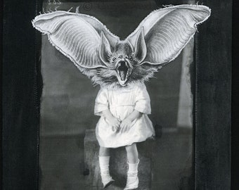 Batty Wee Child Framed original Mixed Media Fabric art Textile art Image of a child with a bat head Surreal OOAK Vintage photo