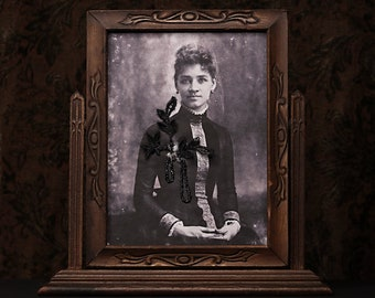 Grow Strong In Broken Places - Framed Mixed Media Photo Fabric Textile art Black woman daguerreotype vintage beads embroidery tilt frame