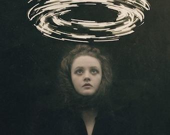 Conjuring - Surreal Fine Art Photography Print Dark Art Magic Creepy Portrait Image Light Circle Wormhole Woman Face Black Haunting Witch
