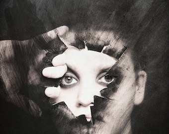 Break On Through - FREE SHIPPING - Surreal Photography Photo Print Portrait Broken Plastic Face Eyes Dark Shadow Black Cream White Wall Art