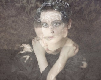 Secrets Are For Keeping - FREE SHIPPING Surreal Photo Print Fine Art Portrait Haunting Image Girl Double Exposure Face Purple Wall Decor
