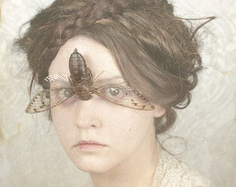 You Don't Sing To Me Anymore - Surreal Photo Print Creepy Portrait Fine Art Image Woman with cicada over her eyes on her face Home decor
