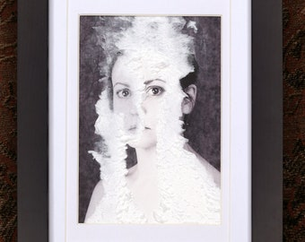 Scrape - Framed original art Mixed Media Photo Fabric Textile art Image of a woman behind paper fabric Surreal OOAK surreal portrait B&W