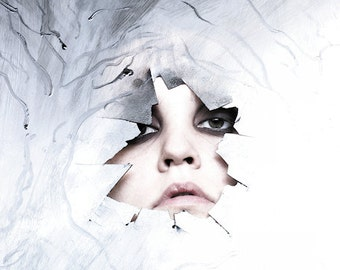 In The Trees Amongst The Birds - FREE SHIPPING Surreal Photo Print Blue White Face Broken Plastic Silver Eyes Dark Light Dark Art Portrait