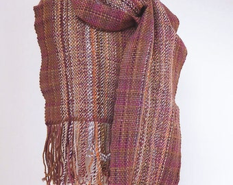 Hand woven scarf made with handspun luxury yarn - READY TO SHIP