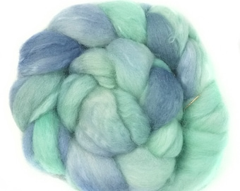 BFL Kidmohair handdyed wool roving top spinning or felting fiber 3.4 oz