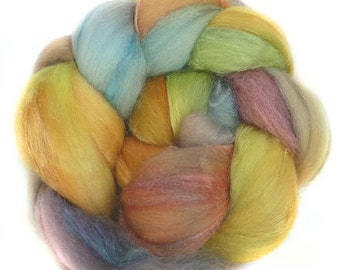 MERINO SILK handdyed wool roving top spinning or felting fiber 3.5 oz