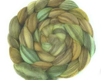 BFL handdyed wool roving top spinning or felting fiber 3.4 oz