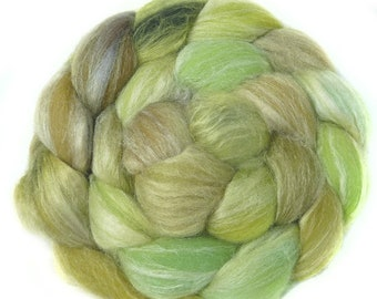 MERINO SILK handdyed wool roving top spinning or felting fiber 3.3 oz