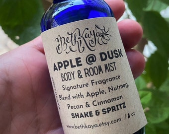 APPLE AT DUSK -  Apple, Spices and Pecan with Cinnamon - Glass Bottle 2oz -  Signature Fragrance Mist By BethKaya