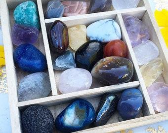 CHAKRA BOX - 24 Piece Tumbled Crystal Set - Box of Full Spectrum Crystals Paired in  Loving Harmony By BethKaya