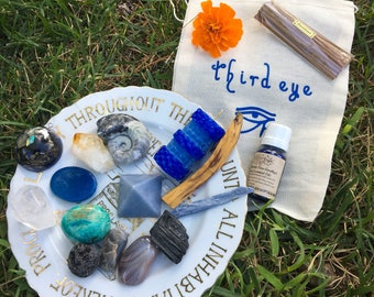 THIRD EYE - Intention Bag - Crystals, Candles, Smudge or Oils In Harmony Thoughtfully Paired Signature By BethKaya
