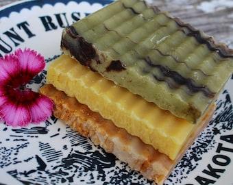 TRIO VEGAN SOAP - Set of 3 - Lavender Tangerine,Nag Champa, Orange Patchouli - Shampoo Shave and Soap Vegan Bar