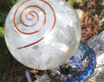 BREAK THROUGH   - Selenite and Copper Orgone Globe with Aqua Aura Base - Etheric Energy Gem Composite Art By BethKaya