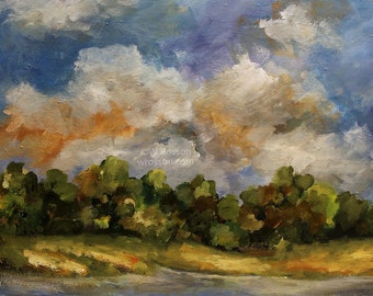 Tree Lined, Stream, Colorful Clouds, Autumn, Fall,  18x24, Original Painting, Seasonal, Art, Home Decor, Office Art, Gift, Winjimir,