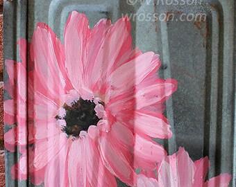 Pink Daisy, Gerber Daisy, Original Painting, Vintage Metal, Pink Flowers,  Home Decor, Garden, Patio, Porch, Outdoor Art, Winjimir, Gift