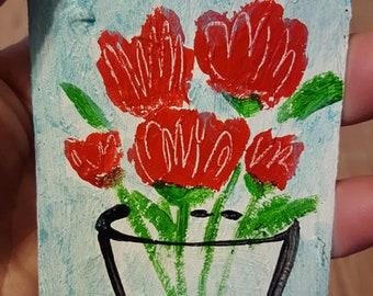 Red Flowers, Vase, Floral Art, Original Painting, ACEO, ATC, Winjimir, Small Format Art, Miniature Painting, Miniature Art, Art, Gift,