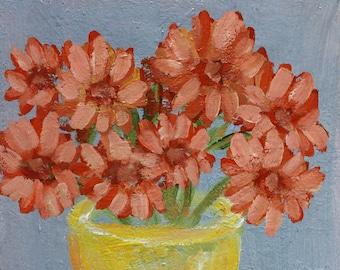 Zinnias, Painting, Orange Flowers, Yellow Vase, Flower Painting, Garden, Home Decor, Design, Mother's Day Gift, Winjimir, Zinnia Painting,