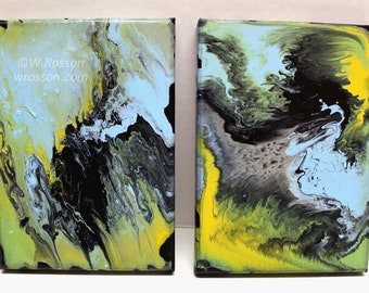 Blue, Green, Black, Abrstact Paintings, Set of Two, Poured Painting, Original Art, Paint Pourning, Winjimir, Home Decor, Gift, Wall Art,