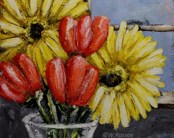 Somber Day, Bouquet, Floral Painting, Original Painting, Rainy Day, Yellow Dasiy, Tulips, Flowers, Winjimir, Home Decor, Wall Art, Gift, Art