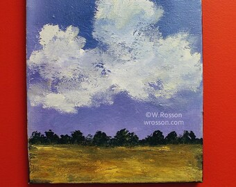 Blue and Purple Sky, Clouds, Fields, Treeline, Original Art, Landscape Painting, Winjimir, Home Decor, Design, Gift, Wall Decor,Art