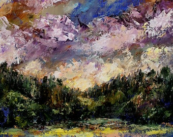 Purple Clouds, Sunrise, Forest, Hills, Original Landscape Painting, Textured, Colorful, Lake, Trees, Sky, Winjimir, Home Decor, Wall Art,
