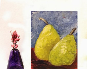 Still Life, Pear Painting, Kitchen Art, Home Decor, Food, Pears, Winjimir, Original Painting, Original Art, Wall Art, Gift, Fruit, Food,