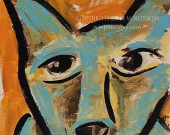 Aqua Color Dog, Original Painting, Pets, Winjimir, Original Art, Dogs, Modern, Bold, Color, Gift,  Home Decor, Fine Art, Small Format,