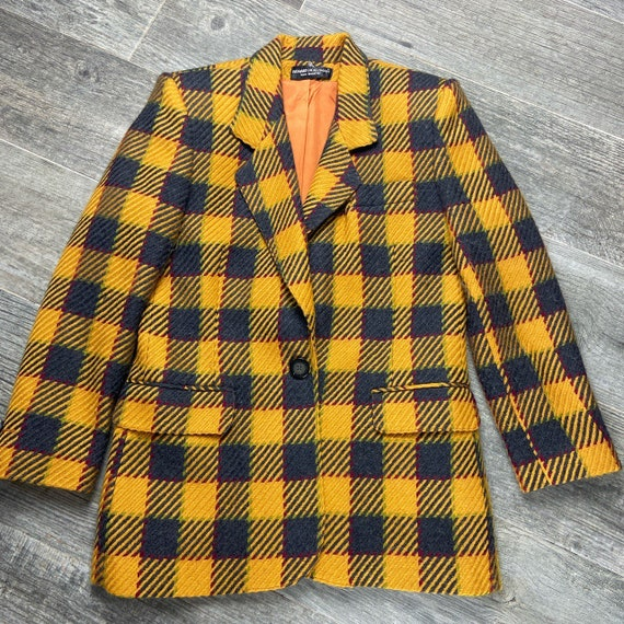Vintage 80s 90s oversized yellow plaid boyfriend b